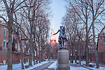 Paul Revere and Old North Church in the North End of Boston, Massachusetts, USA