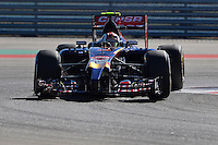 Daniil Kvyat of Scuderia Toro Rosso driving (26) STR9 during first practice session of  2014 Formula 1 United States Grand Prix, Friday, October 31, 2014 in Austin, Tex. (Mo Khursheed/TFV Media via AP Images)