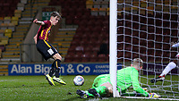 Charlie Wood of Bradford City U18 scores a goal to make it 2-0 during the FA Youth Cup match between Bradford City U18 and Stoke City U18 at the Northern Commercial Stadium, Bradford, England on 12 December 2019. Photo by Thomas Gadd.