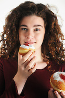 Hanukkah donuts with beautiful natural look model