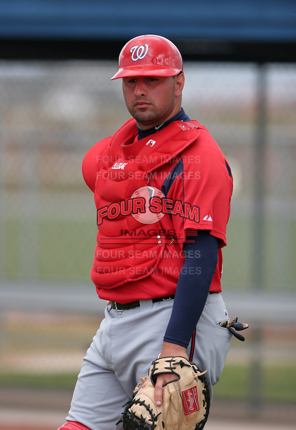 Washington Nationals minor leaguer Rob Sandora during Spring Training at the Carl Barger Training Complex on March 19, 2007 in Melbourne, Florida.  (Mike Janes/Four Seam Images)