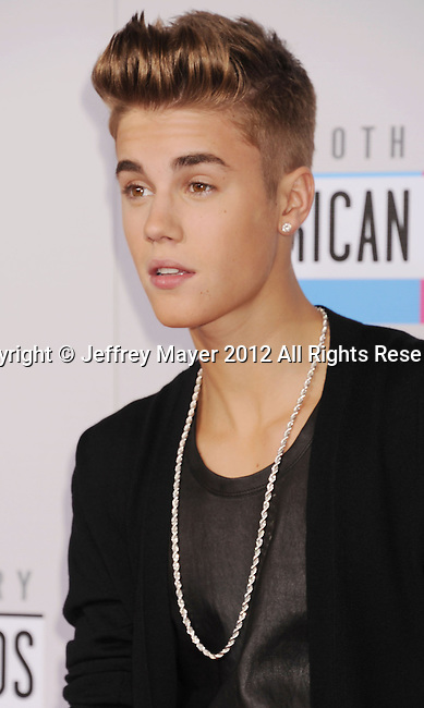 LOS ANGELES, CA - NOVEMBER 18: Justin Bieber attends the 40th Anniversary American Music Awards held at Nokia Theatre L.A. Live on November 18, 2012 in Los Angeles, California.