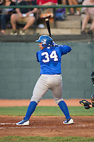 Xavier Fernandez (34) of the Burlington Royals at bat against the Bristol Pirates at Boyce Cox Field on July 10, 2015 in Bristol, Virginia.  The Pirates defeated the Royals 9-4. (Brian Westerholt/Four Seam Images)