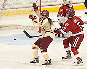 Caitlin Walsh (BC - 11), Sarah Edney (Harvard - 3) - The Boston College Eagles defeated the visiting Harvard University Crimson 3-1 in their NCAA quarterfinal matchup on Saturday, March 16, 2013, at Kelley Rink in Conte Forum in Chestnut Hill, Massachusetts.