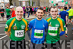 Jerome Flynn, Jonathan O'Connor and Dara O'Connor at the start of the Kerry's Eye Tralee, Tralee Half Marathon on Saturday.