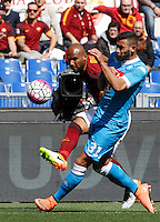 Calcio, Serie A: Roma vs Napoli. Roma, stadio Olimpico, 25 aprile 2016.<br /> Roma&rsquo;s Maicon, left, is challenged by Napoli&rsquo;s Faouzi Ghoulam during the Italian Serie A football match between Roma and Napoli at Rome's Olympic stadium, 25 April 2016.<br /> UPDATE IMAGES PRESS/Riccardo De Luca