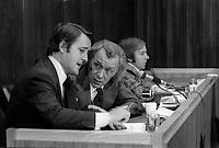 Brian Mulroney, le juge Cliche et Guy Chevrette president la  commission<br />  CLICHE en 1975<br /> <br /> Photo : Alain Renaud - Agence Quebec Presse