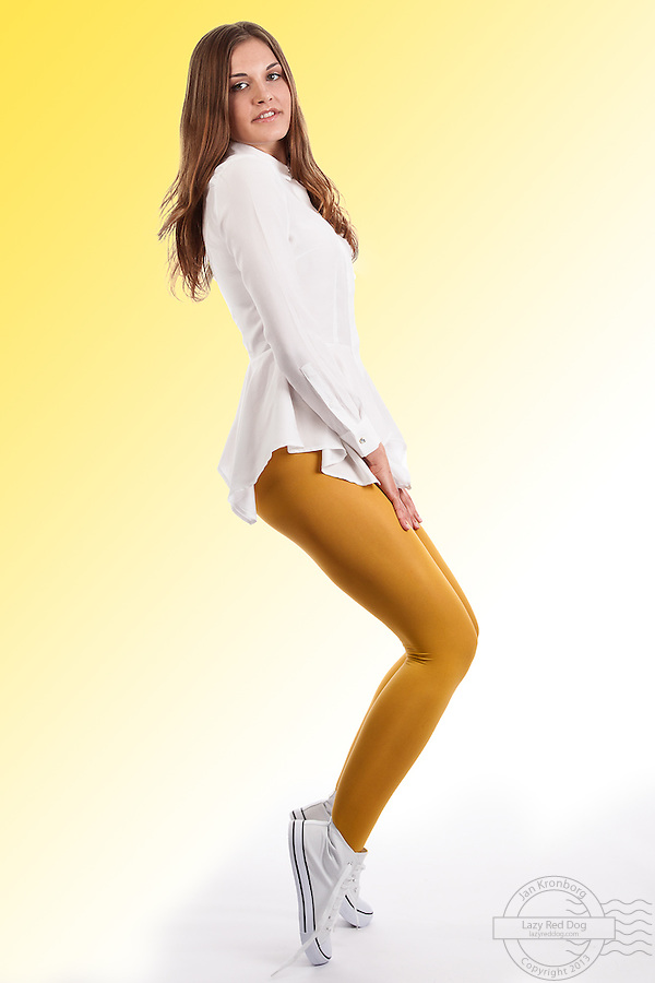 A series of a model wearing tights in 3 different colors