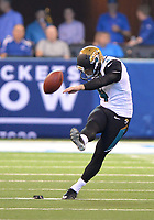 Jacksonville Jaguars kicker Josh Lambo (4) boots a kick-off against the Indianapolis Colts in a NFL game Sunday, October 22, 2017 in Indianapolis, IN.  (Rick Wilson/Jacksonville Jaguars)