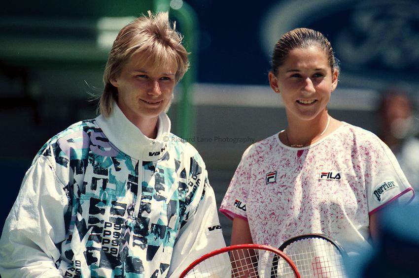 Photo. Steve Holland.Australian Open at Melbourne. 1991..Jana Novotna and Monica Seles