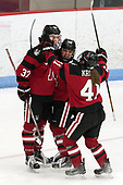 Kasidy Anderson (NU - 37), Melissa Haganey (NU - 19), Denisa Krížová (NU - 41) -  The Boston College Eagles defeated the Northeastern University Huskies 2-1 in overtime to win the 2017 Hockey East championship on Sunday, March 5, 2017, at Walter Brown Arena in Boston, Massachusetts.