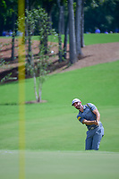 Dustin Johnson (USA) chips on to 1 during Saturday's round 3 of the PGA Championship at the Quail Hollow Club in Charlotte, North Carolina. 8/12/2017.<br /> Picture: Golffile | Ken Murray<br /> <br /> <br /> All photo usage must carry mandatory copyright credit (&copy; Golffile | Ken Murray)