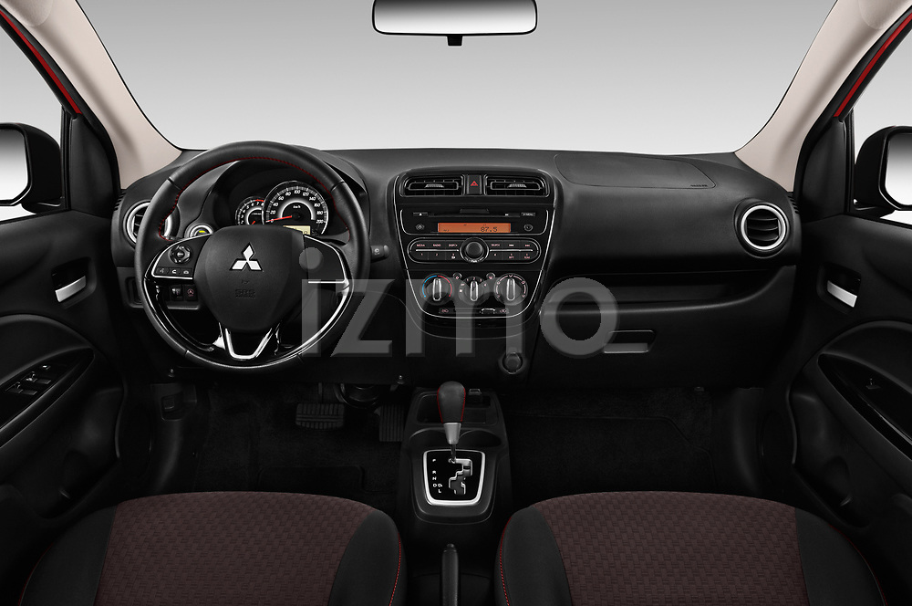 Stock photo of straight dashboard view of 2019 Mitsubishi Space-Star Black-Collection 5 Door Hatchback Dashboard