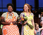 NaTasha Yvette Williams and Katie Grober with Katharine McPhee during her Broadway Debut Curtain Call in 'Waitress' at the Brooke Atkinson Theatre on April 10, 2018 in New York City.
