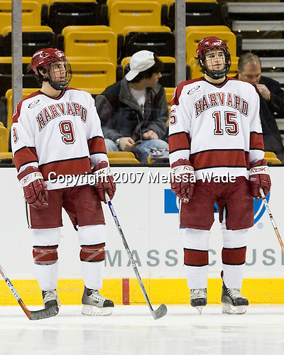 Jimmy Fraser (Harvard - 9), Doug Rogers (Harvard - 15) - The Northeastern University Huskies defeated the Harvard University Crimson 3-1 in the Beanpot consolation game on Monday, February 12, 2007, at TD Banknorth Garden in Boston, Massachusetts.