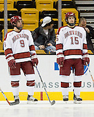 Jimmy Fraser (Harvard - 9), Doug Rogers (Harvard - 15) - The Northeastern University Huskies defeated the Harvard University Crimson 3-1 in the Beanpot consolation game on Monday, February 12, 2007, at TD Banknorth Garden in Boston, Massachusetts.