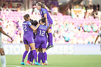 Orlando, FL - Sunday May 14, 2017: Team celebrates goal. during a regular season National Women's Soccer League (NWSL) match between the Orlando Pride and the North Carolina Courage at Orlando City Stadium.