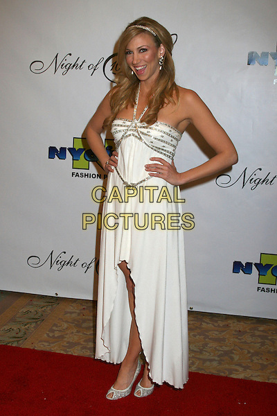"DEBORAH GIBSON.17th Annual ""Night of 100 Stars"" Oscar Gala at the Beverly Hills Hotel, Beverly Hills, California, USA..February 25th, 2007.full length white dress hands on hips Debbie halterneck.CAP/ADM/BP.©Byron Purvis/AdMedia/Capital Pictures"