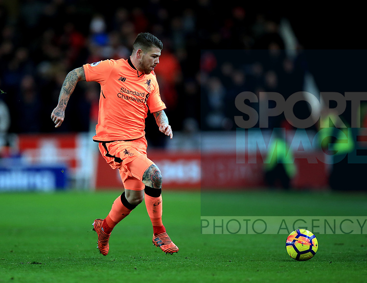 Alberto Moreno of Liverpool during the premier league match at the bet365 Stadium, Stoke on Trent. Picture date 29th November 2017. Picture credit should read: Clint Hughes/Sportimage