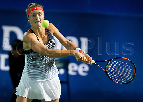 18.02.2016. Dubai, United Arab Emirates.  Elina Svitolina (UKR)  beats C Vandeweghe (US) at the Dubai Tennis Championships 2016 WTA