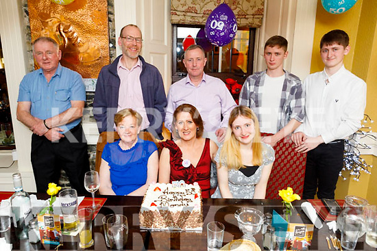Mandy Walsh from Tralee celebrating her 50th birthday in the Brogue Inn on Friday.<br /> Seated l to r: Eileen Flynn, Mandy Walsh and Zoe Norrish.<br /> Back l to r: Timmy O'Sullivan, Matthew Norrish, Denis, Jordan and Dylan Walsh.