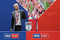 Charlton Manager, Lee Bowyer takes a closer look at the Division One Play-Off Trophy during Charlton Athletic vs Sunderland AFC, Sky Bet EFL League 1 Play-Off Final Football at Wembley Stadium on 26th May 2019