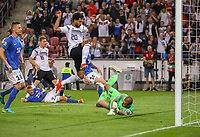 Serge Gnabry (Deutschland Germany) erzielt das Tor zum 7:0 und springt über Torwart Sergei Lepmets (Estland, Estonia) - 11.06.2019: Deutschland vs. Estland, OPEL Arena Mainz, EM-Qualifikation DISCLAIMER: DFB regulations prohibit any use of photographs as image sequences and/or quasi-video.