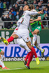 10.02.2019, Weser Stadion, Bremen, GER, 1.FBL, Werder Bremen vs FC Augsburg, <br /> <br /> DFL REGULATIONS PROHIBIT ANY USE OF PHOTOGRAPHS AS IMAGE SEQUENCES AND/OR QUASI-VIDEO.<br /> <br />  im Bild<br /> <br /> kopfball Niklas Moisander (Werder Bremen #18) an den Arm von Dong-Won Ji (FC Augsburg #22)<br /> <br /> Foto &copy; nordphoto / Kokenge