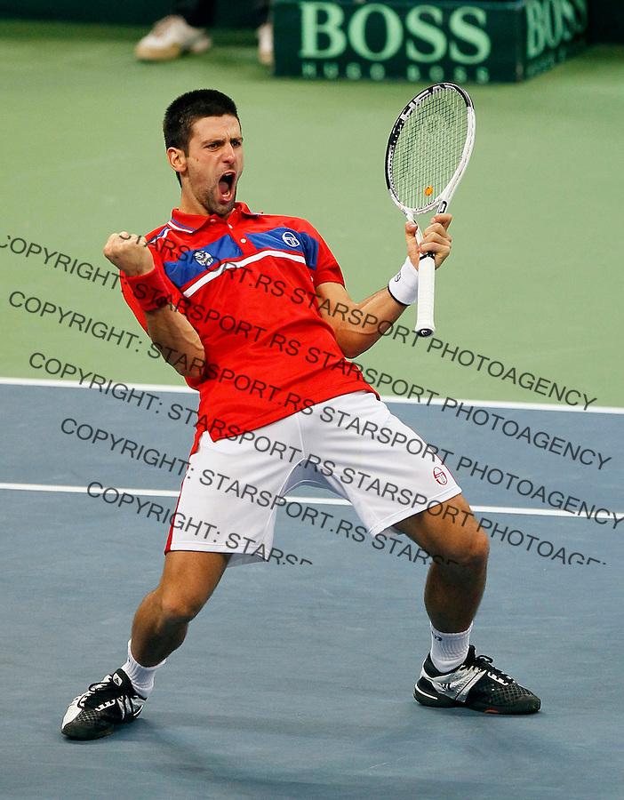 Novak Djokovic of Serbia celebrates after their Davis Cup Final match against Gael Monfils of France, in Belgrade, Serbia, Sunday, Dec.5, 2010.  (credit & photo: Srdjan Stevanovic/Starsportphoto.com)