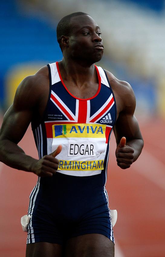 Photo: Richard Lane/Richard Lane Photography. .Aviva National Championships, Incorporating the Team GB Selection Trials, Birmingham. 11/07/2008. Tyrone Edgar in a men's 100m heat.