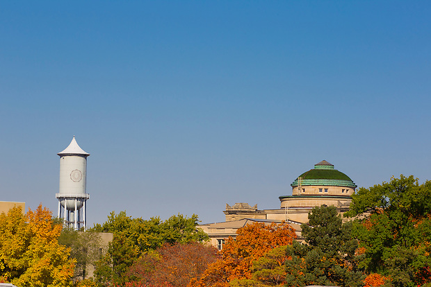 Beardshear Hall and a historic water tower on the campus of Iowa State University in Ames, Iowa. (Christopher Gannon/Gannon Visuals)