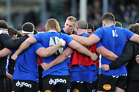 Dominic Day of Bath Rugby looks on in a huddle during the pre-match warm-up. European Rugby Champions Cup match, between Bath Rugby and RC Toulon on January 23, 2016 at the Recreation Ground in Bath, England. Photo by: Patrick Khachfe / Onside Images