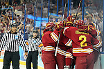 07 APR 2012:  Ferris State University celebrates a goal by Garrett Thompson (16) against Boston College during the Division I Men's Ice Hockey Championship held at the Tampa Bay Times Forum in Tampa, FL.  Boston College defeated Ferris State 4-1 to win the national title.  Matt Marriott/NCAA Photos