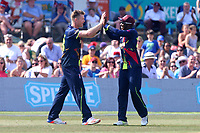 Jimmy Neesham of Kent (L) celebrates taking the wicket of Ashar Zaidi during Kent Spitfires vs Essex Eagles, NatWest T20 Blast Cricket at The County Ground on 9th July 2017