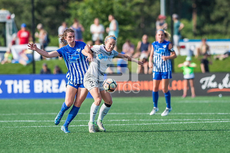 Boston, MA - Saturday June 24, 2017: Morgan Andrews and Kristen Hamilton during a regular season National Women's Soccer League (NWSL) match between the Boston Breakers and the North Carolina Courage at Jordan Field.