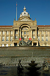 View of Council House building with River fountain and statues in the foreground Victoria Square Birmingham England