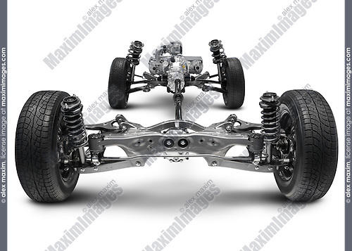 Subaru symmetrical All-wheel Drive AWD suspension system. Isolated with clipping path on white background.