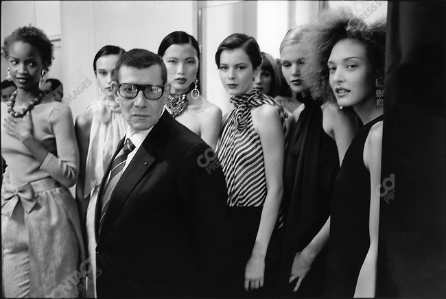Yves Saint Laurent, fashion designer, during the presentation of his collection for spring-summer 1998. Paris, France, October 1997