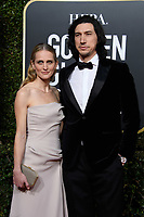 Golden Globe nominee Adam Driver and Joanne Tucker attend the 76th Annual Golden Globe Awards at the Beverly Hilton in Beverly Hills, CA on Sunday, January 6, 2019.<br /> *Editorial Use Only*<br /> CAP/PLF/HFPA<br /> Image supplied by Capital Pictures