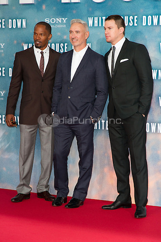 Jamie Foxx, Roland Emmerich and Channing Tatum attending the White House Down premiere held at CineStar, Sony Center, Berlin, Germany, 02.09.2013. Photo by Christopher Tamcke/insight media/MediaPunch Inc. ***FOR USA ONLY***