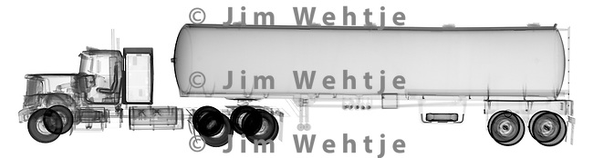 X-ray image of a tanker truck (black on white) by Jim Wehtje, specialist in x-ray art and design images.