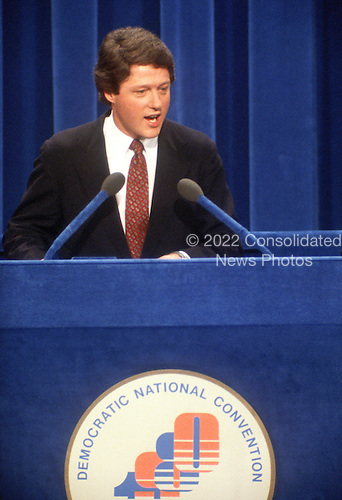 Governor Bill Clinton (Democrat of Arkansas) makes remarks at the 1980 Democratic National Convention at Madison Square Garden in New York, New York on August 1, 1980.<br /> Credit: Arnie Sachs / CNP