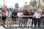 Cutting the ribbon to start Stage 9 of the 2017 La Vuelta, running 174km from Orihuela Ciudad del Poeta Miguel Hernandez to Cumbre del Sol, El Poble Nou de Benitatxell, Spain. 27th August 2017.<br /> Picture: Unipublic/&copy;photogomezsport | Cyclefile<br /> <br /> <br /> All photos usage must carry mandatory copyright credit (&copy; Cyclefile | Unipublic/&copy;photogomezsport)