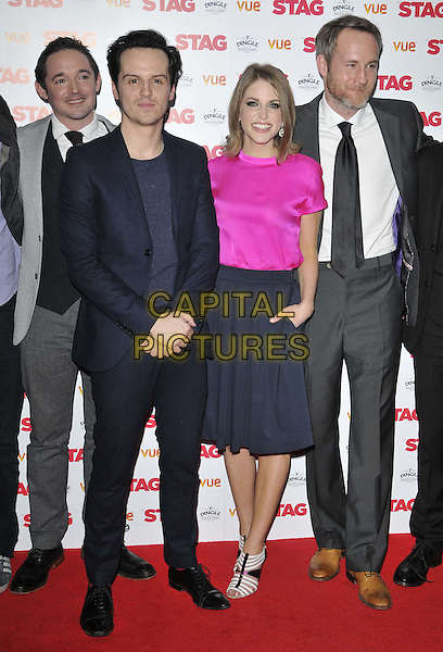 LONDON, ENGLAND - MARCH 13: Hugh O'Conor, Andrew Scott, Amy Huberman &amp; Peter McDonald attend the &quot;The Stag&quot; gala film screening, Vue West End cinema, Leicester Square, on Thursday March 13, 2014 in London, England, UK.<br /> CAP/CAN<br /> &copy;Can Nguyen/Capital Pictures