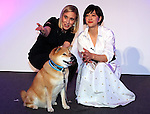 December 13, 2016, Tokyo, Japan - Online photo and video sharing SNS Instagram chief operating officer (COO) Marne Levine of the United States poses with Japanese animal welfare promoter Christel Takigawa and an Instagram icon dog Maru at a promotional event of Instagram in Tokyo on Tuesday, December 13, 2016. Levine is now here to attend the World Assembly for Women (WAW!).  (Photo by Yoshio Tsunoda/AFLO) LWX -ytd-