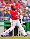 24 April 2010: Washington Nationals' infielder Cristian Guzman in action against the Los Angeles Dodgers at Nationals Park in Washington, DC. The Dodgers edged out the Nationals 4-3 in a thirteen inning game. Mandatory Credit: Ed Wolfstein Photo