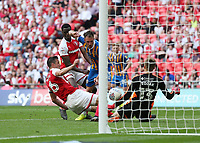 27th May 2018, Wembley Stadium, London, England;  EFL League 1 football, playoff final, Rotherham United versus Shrewsbury Town;  Alex Rodman of Shrewsbury Town shoots to score his sides equalising goal in the 58th minute to make it 1-1 past Richard Wood of Rotherham United and Goalkeeper Marek Rodak of Rotherham United