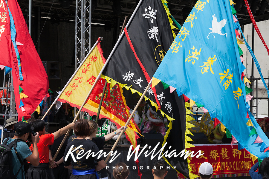 Colorful Asian Flags, Dragon Fest 2015, Chinatown, Seattle, Washington, USA