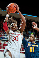 STANFORD, CA-JANUARY 28, 2011: Nnemkadi Ogwumike breaks through for two points during a 74-71 overtime win over the Cal Bears.