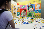 A visitor looks at the Lego Stationery products on display at the Tokyo Gift Show exhibition on September 7, 2016, Tokyo, Japan. The 82nd Tokyo International Gift Show Autumn 2016 exhibition introduced Japanese and international goods from 2,729 companies, 686 of which came from 19 different countries outside of Japan, over three days from September 7th to 9th at Tokyo Big Sight. (Photo by Rodrigo Reyes Marin/AFLO)